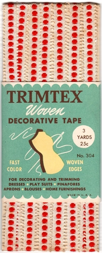 Vintage Trimex Woven Decorative Tape-Off White w/Red Dots