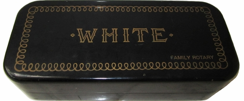 "Vintage White ""Family Rotary"" Tin Box With Machine Attachments"