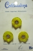 Vintage Yellow Flower Buttons w/Rhinestones