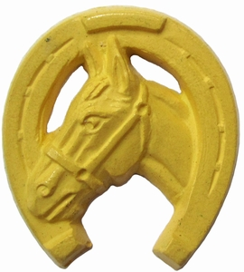 Vintage Yellow Plastic Horseshoe Button