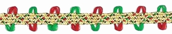 Vintage Trim - Metallic Gold, Red & Green Trim By The Yard