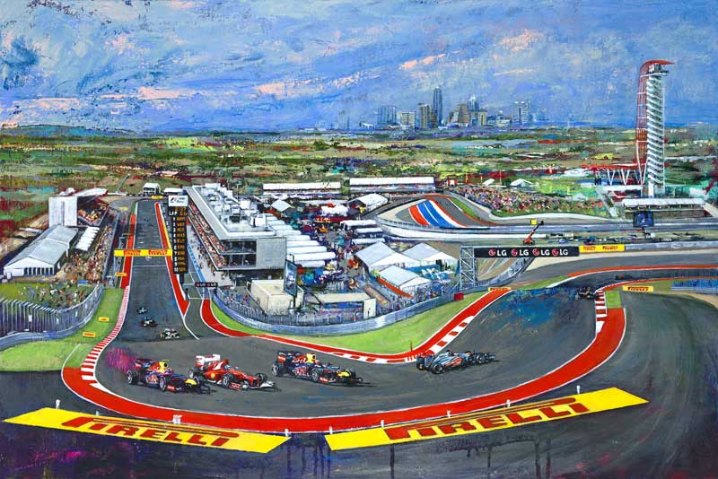austin f1 track circuit of the americas fine art print by robert hurst. Black Bedroom Furniture Sets. Home Design Ideas