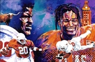 Excellence x 2 fine art print featuring Earl Campbell and Ricky Williams - prints signed by both Campbell and Williams currently available