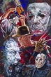 Horror Movie Villains fine art print featuring Jason, Freddy Krueger, Leatherface, Pinhead and Michael Myers