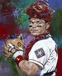 Ivan (Pudge) Rodriguez original painting by Robert Hurst signed by Rodriguez