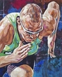 Jeremy Wariner original painting by Robert Hurst signed by Wariner