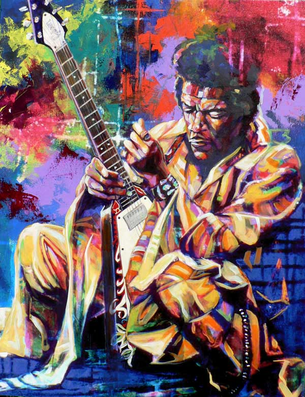 Jimi Hendrix Flying V Fine Art Print By Robert Hurst