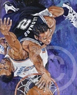 Kawhi Leonard - Spurs original painting featuring Kawhi Leonard by Robert Hurst