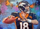 Peyton Manning - Denver Broncos original painting by Robert Hurst