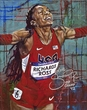 Sanya  Richards-Ross original painting by Robert Hurst signed by Richards-Ross