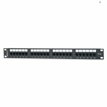 """West Penn 24-Port Category 6 Patch Panel, T568A/B Wiring, 1.75""""H"""