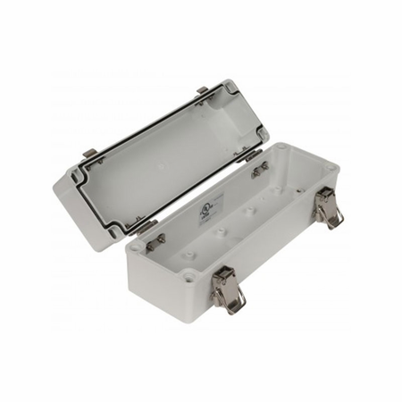 Bud Industries PTH-22480-C - PC 10% glass fiber Plastic Box metal latch IP66 (3.15 X 9.84 X 3.35) Clear Cover