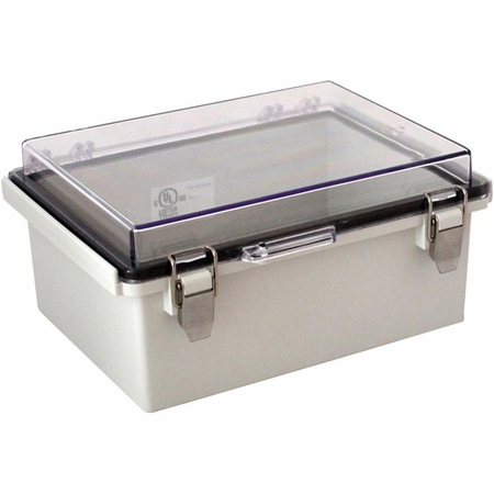 Bud Industries PTQ-11048-C - NEMA 4X Enclosures-PTQ series-NEMA 4X,6, IP67 with 10% fiberglass-L8 X W6 X D4