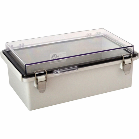 Bud Industries PTQ-11050-C - NEMA 4X Enclosures-PTQ series-NEMA 4X,6, IP67 with 10% fiberglass-L10 X W6 X D4