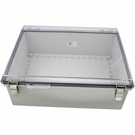 Bud Industries PTQ-11068-C - NEMA 4X Enclosures-PTQ series-NEMA 4X,6, IP67 with 10% fiberglass-L16 X W12 X D6