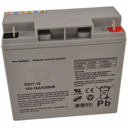 MK Battery ES17-12 - 12 Volts, 18 Amp Hours (20 Hours) Small Sealed Battery
