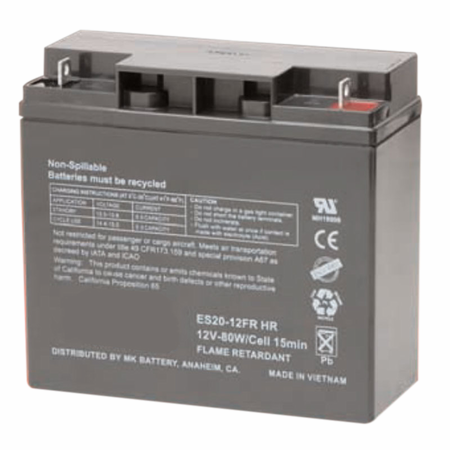 MK Battery ES20-12FR HR - 12 Volts 20 Amp Hours/20 Hours