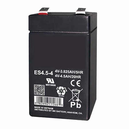 MK Battery ES4.5-4 - 4 Volts, 4.5 Amp Hours (20 Hours) Small Sealed Battery