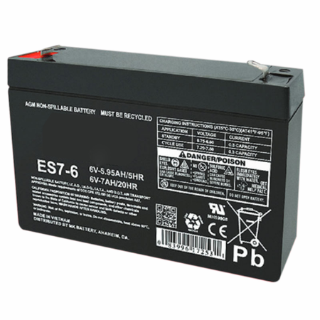 MK Battery ES7-6 - 6 Volts, 7 Amp Hours (20 Hours) Small Sealed Battery
