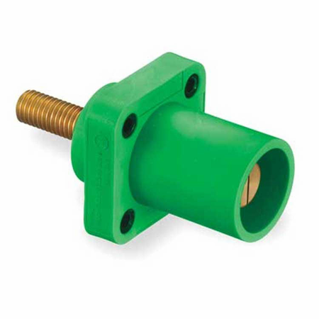Hubbell HBLMRSGN - AC - Connector, 16 Series Cam-Type, chassis, male, threaded stud, green
