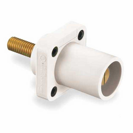 Hubbell HBLMRSW - AC - Connector, 16 Series Cam-Type, chassis, male, threaded stud, white