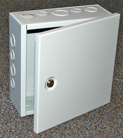 Bud Industries JBH-4953-KO - NEMA 1 Enclosures-JBH series-NEMA 1 Sheet Metal Box With Hinged Cover-L6 X W4 X D4