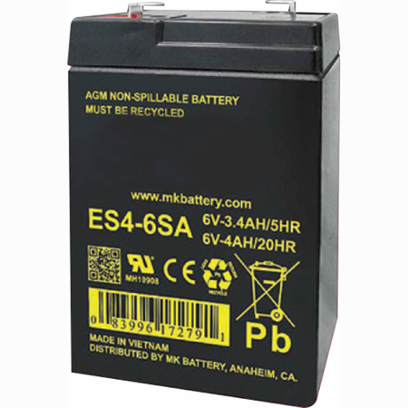 MK Battery ES4-6SA - 6 Volts 4 Amp Hours/20 Hours