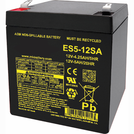 MK Battery ES5-12SA - 12 Volts, 5 Amp Hours (20 Hours) Small Sealed Battery