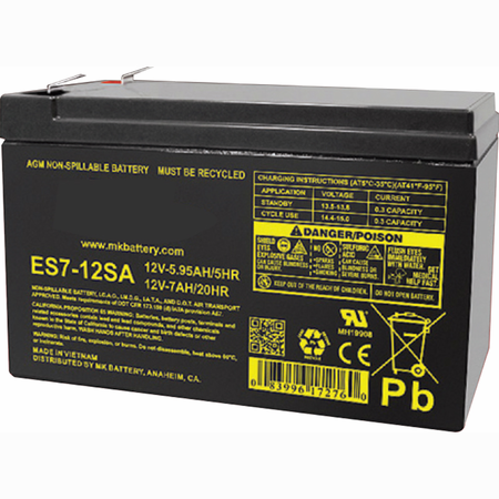 MK Battery ES7-12SA - 12 Volts, 7 Amp Hours (20 Hours) Small Sealed Battery