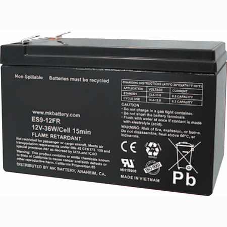MK Battery ES9-12FR - 12 Volts 9 Amp Hours/20 Hours