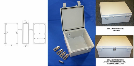 Bud Industries NBF-32322 - NEMA 4X Enclosures-NBF series-UL/NEMA/IEC IP67-L14 X W10 X D6