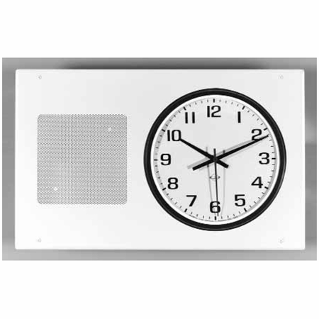 Lowell SCB-700 Grille-Clock/Speaker Steel Surface 26in L x 14.5in H White