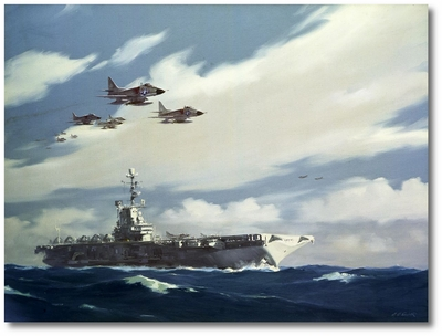 A-4s Over the USS Ticonderoga, CV-14 by R.G. Smith