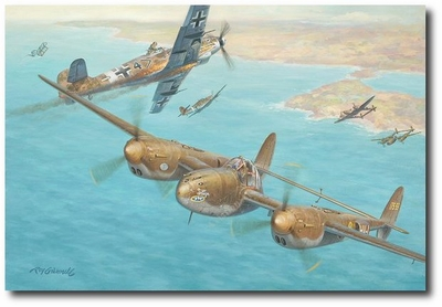A Deadly Game of Chicken by Roy Grinnell (P-38 Lightning)