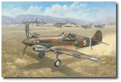 Alone Above Baoshan by Roy Grinnell (P-40 Warhawk)