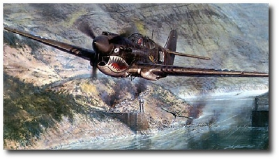 Tigers in the Gorge by John Shaw (P-40)