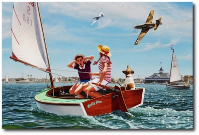 Buzzin' the Bay by Stan Vosburg (P-51 Mustang)