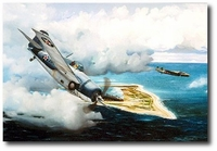 Cat and Mouse Over Wake by Marc Stewart (F4F Wildcat)