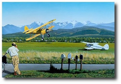 Checking the Mail by Sam Lyons (PT-17 Stearman and Waco)