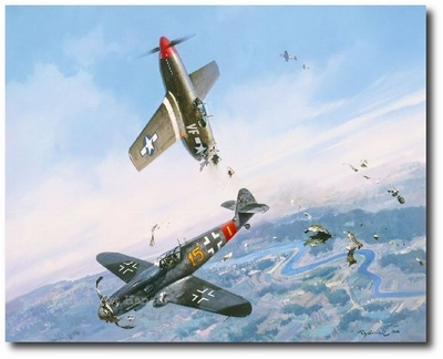 Clash of Eagles by Roy Grinnell (P-51 & Me-109)