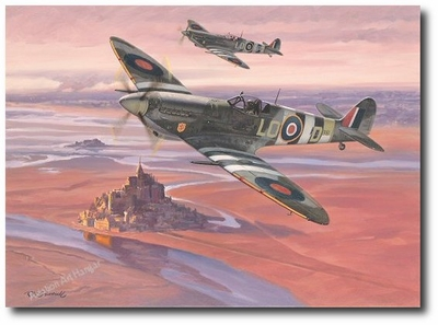 Clostermann on D-Day by Roy Grinnell (Spitfire)