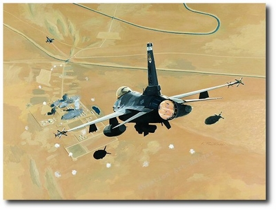 Down the Chute by K. Price Randel (F-16 Falcon)