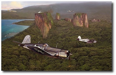 Duel at Kojak Rock by Jack Fellows (F4U Corsair)