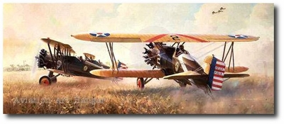 Farmer's Nightmare by Keith Ferris (Boeing P-12)