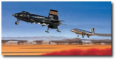 First Re-Entry by Mike Machat (X-15 & F-104)