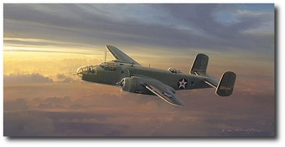 Fuel State Critical - Outcome in Doubt by William S. Phillips (B-25 Mitchell)
