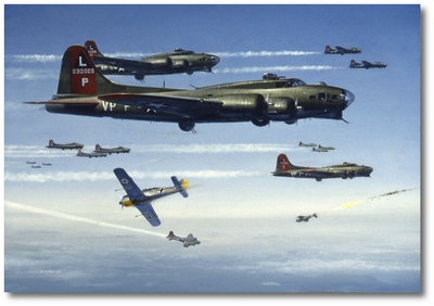 FW-190s Attacking B-17 Flying Fortresses by R.G. Smith