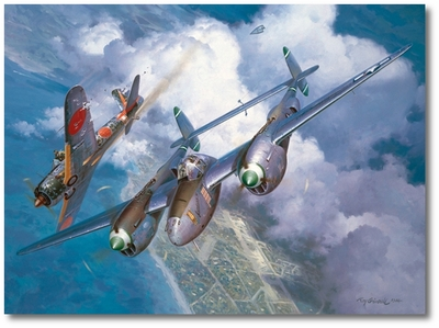 High Noon Over Alicante by Roy Grinnell (P-38 Lightning)