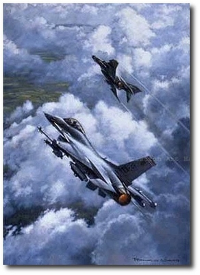 Hunter-Killer Team by Ronald Wong (F-16 & F-4G Wild Weasel)