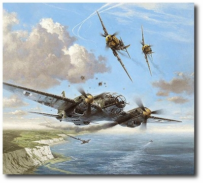 Narrow Escape by Heinz Krebs (He111, Me109)